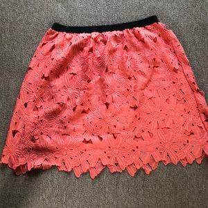 salmon colored flower eyelet skirt
